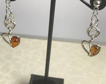 Sterling Silver Amber Heart Earrings with double möbius/vortex Chainmaille