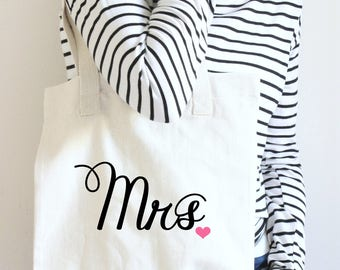 Mrs Tote Bag, Mrs Tote, Gift For Bride Tote Bag, Wedding Tote Bag, Bride Tote Bag, Bridal Bag, New Bride Tote, Wedding Tote, Bridal Tote Bag