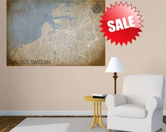 Malmö Sweden CANVAS Map Malmö Sweden Poster City Map Malmö Sweden Art Print Malmö Sweden canvas wall decor decor bedroom decor living room