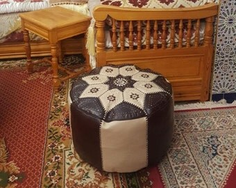 leather pouf, Moroccan handcrafted Leather Pouf, Ottoman Footstool Leather Pouf, Round Poof Poufs Pouffe Pouffes