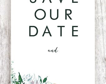 Save Our Date White Floral Design - Printable Template and Digital Download