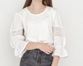VINTAGE White Short Sleeve Retro Blouse