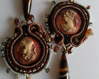Cameo earrings and Jade drops at Soutache