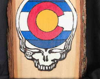 Grateful Dead - COLORADO Steal Your Face woodburned
