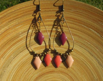 Drop earrings roses/diamond/geometric/dangling/bronze/made handmade/gifts for women