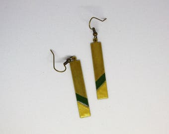 Rectangular earrings in brass and enamel Green Khaki/gold backed by a bronze/geometric/modern/minimalist/gifts for women