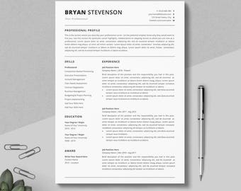 Simple Resume Template | Professional Resume Template | Clean Resume | 4  Pages Pack | Instant  Clean Resume Templates