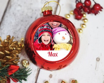 Personalised Red Bauble - Photo Upload - Christmas Tree Decoration