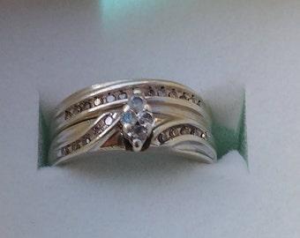 Silver Genuine Diamond Wedding Set