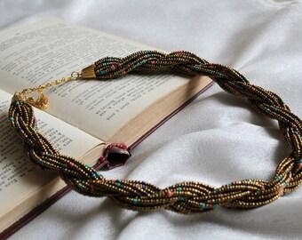 Bead Necklace, Bronze Color Necklace, Original Necklace, Multi strand seed bead necklace