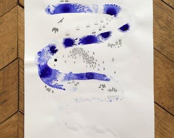 "Illustration ""Mountain River"""