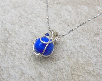 Wrapped Lapis Lazuli Necklace, Lapis Lazuli Necklace with 925 Stereling Silver (A0052)