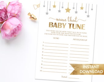 Name that baby tune baby shower game | Twinkle twinkle little star | Gender neutral printable shower games | Gold theme shower printables