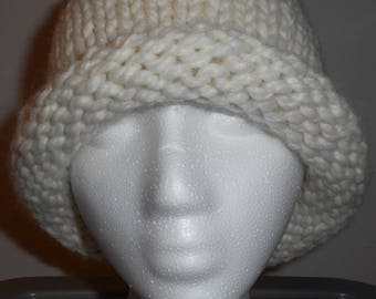 NEW Handmade Knitted Woman's Large Winter Hat Stretchy ~ Various Colors
