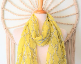 They Call me Mellow Yellow Nautical Ropes print Nautical Sailor Scarf, Yellow Cotton Nautical Scarf, Nautical Shawl, Nautical Wrap, Boating