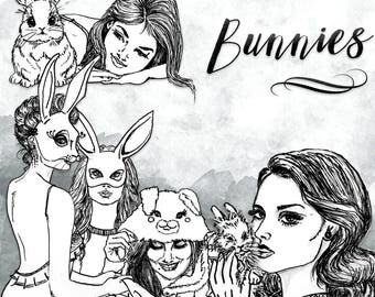 Bunnies Clip Art | Hand Drawn Graphics | Illlustration, Digital Cliparts | Girl Clip Art | Watercolour Clip Art | Bunny
