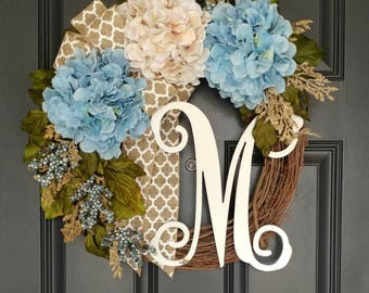 All Seasons Hydrangea Wreath for Door,Blue and Cream Flower Wreath,Grapevine Wreath for Door,Mother's Day Gift, Initial ,Personalized Wreath