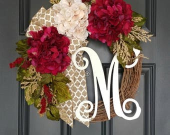 Valentine's Wreath For Door,Year Round Wreath,Front Door Wreath, Housewarming Gift,Mother's Day Gift,Personalized Monogramed Wreath