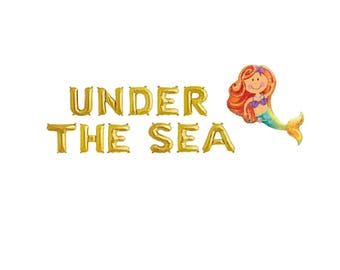 Under The Sea Gold Balloons,Under The Sea Letter Balloons,Under The Sea Theme,Mermaid Birthday Theme,Mermaid Under The Sea Theme