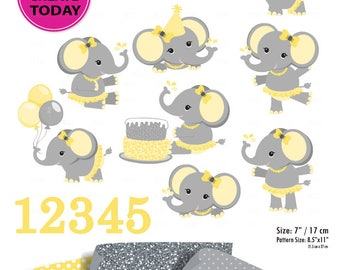 Yellow Gray Girl Elephant Clip art, Baby grey peanut clip art, png. Nursery, Baby Shower,birthday party, instant download commercial license