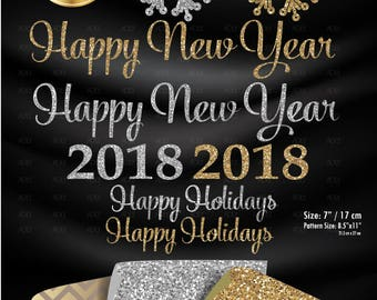 Happy New Year Clip art, 2018 holiday clip art print, new years party clipart,  for thank you card, tag, gold silver glitter commercial use