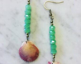 Florida Sea Shell Earrings- Boho Jewlery- Island Jewelry- Festival Jewelry- Scallop Shell Earrings- Beach Earrings