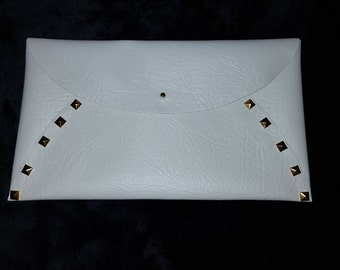 White Studded Faux Leather Clutch Bag