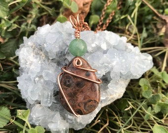 Birds Eye Jasper Wire Wrapped Necklace, Jasper Necklace, Crystal Necklace, Metaphysical, Simple, Boho