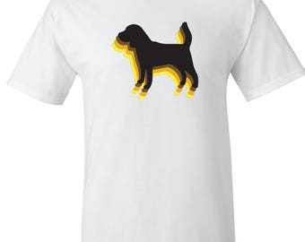 Vintage 70's style Beagle dog Silhouette Logo Graphic T Shirt