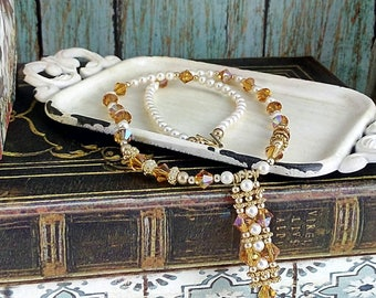 Handmade Topaz and Pearl Necklace