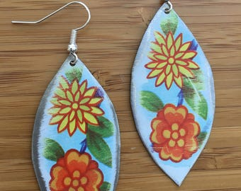 Upcycled floral Daher tin earrings with yellow and orange flowers vintage style