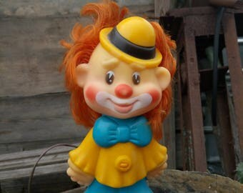 Soviet Vintage Rubber Toy clown,vintage rubber toy,collectible toy SSSR,toy from SSSR,retro rubber toy,squeaker rubbe toy,clown toys, 1980s