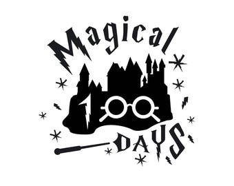Magical 100 days of school Harry Potter svg Harry Potter for Silhouette Circut Harry Potter Svg png dxf studio Harry Potter commercial use