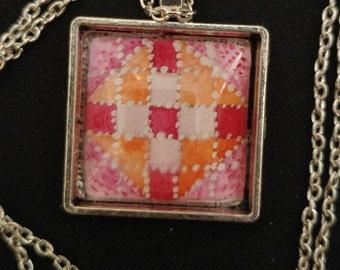 Pink and Orange Quilt Square