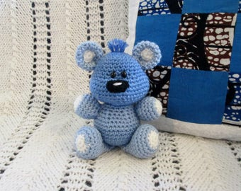 Blue Handmade Crocheted Stuffed Teddy Bear Child's Toy