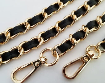 gold chain strap black leather chain purse strap bag handbag handles Crossbody chain Replacement Chain Strap finished chain width 9 mm 1pcs