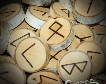 Rune Set burned on birch wood
