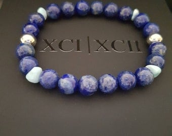 Gift for Every Occasion: Lapis Lazuli Larimar Gemstone Bracelet  stimulating wisdom and good judgment in the practical world.