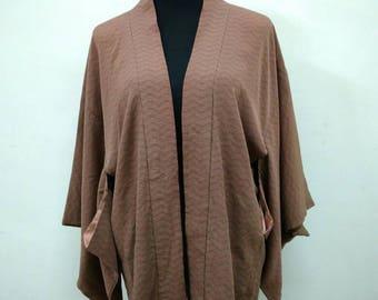 Japanese haori kimono silk brown kimono jacket /kimono cardigan/kimono robe/#012