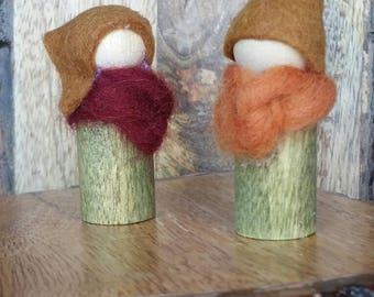 Snuggly Gnome Couple (Red/Orange)