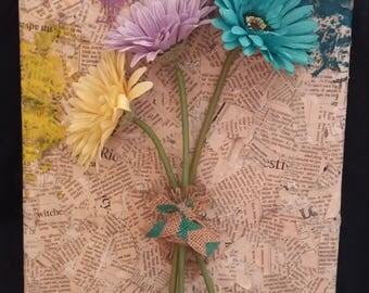 3D Daisy and Papier Mache Canvas (11x14)