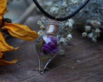 Purple flower nature necklace