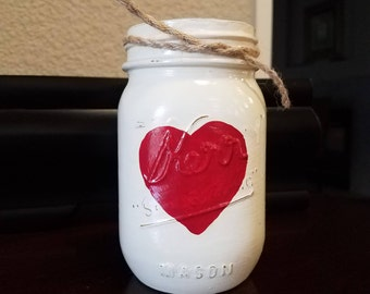 Mason Jar with a Red Heart