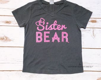 Sister Bear Grey V-Neck Tee / Loved By Hannah And Eli, Inc.
