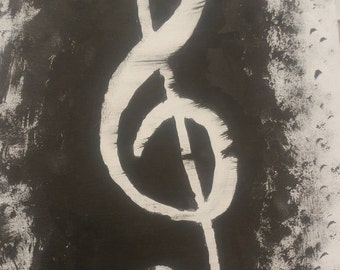 Ink Treble Clef on Canvas