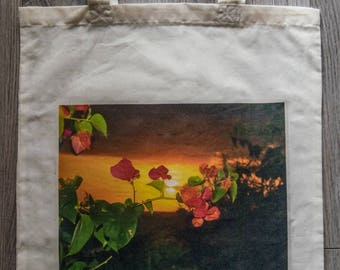 """Library Reusable Bag With Photograph """"Flowers of the Sun"""""""