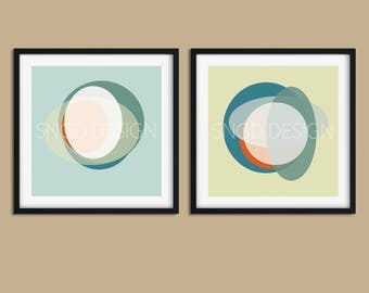 Circles Set 2 - Abstract, Collage, Color, 8x8, Square, Set, Modern, Geometric, Clean Design, Wall Art, Digital Download, Printable