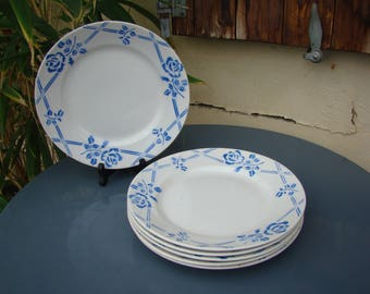 ORCERAME France service of 6 plates floral 1930 - SAINT AMAND Earth iron faience - Vintage french ceramic - Made in France