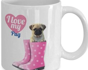 Love my Pug Christmas Mug