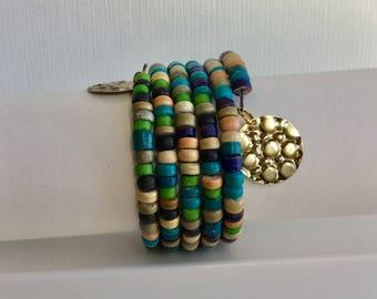Wood Beaded Wrap Around Bracelet